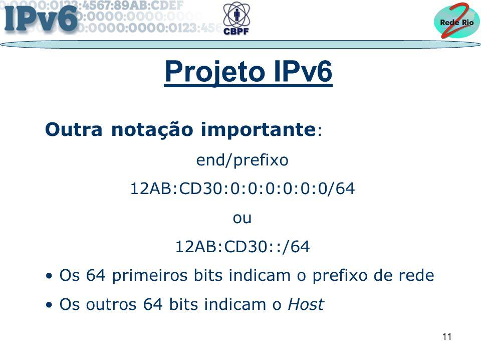 Projeto IPv6 Outra notação importante: end/prefixo