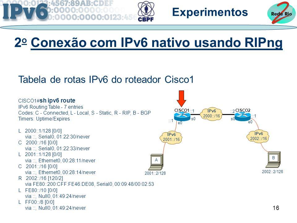2o Conexão com IPv6 nativo usando RIPng