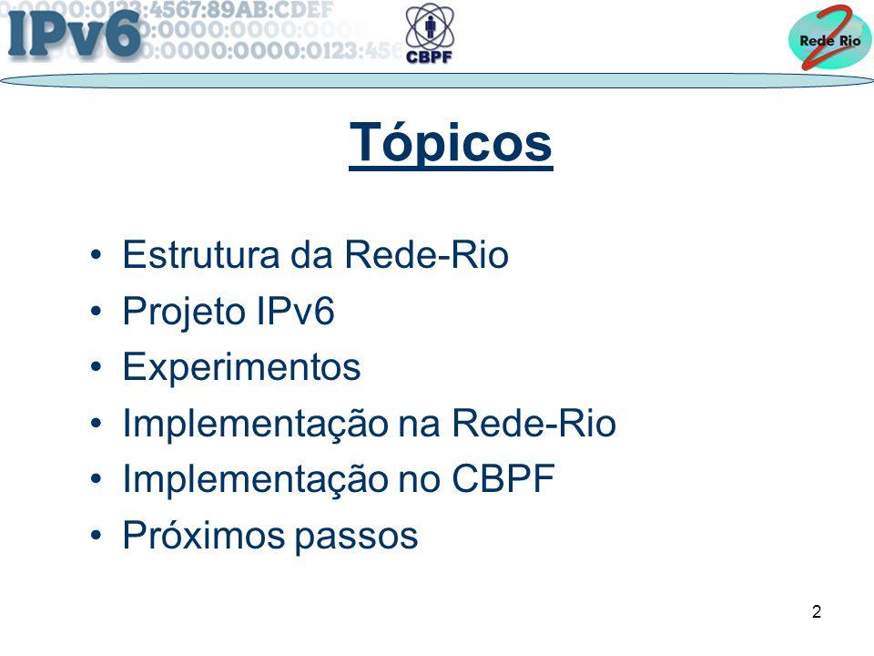 Tópicos Estrutura da Rede-Rio Projeto IPv6 Experimentos