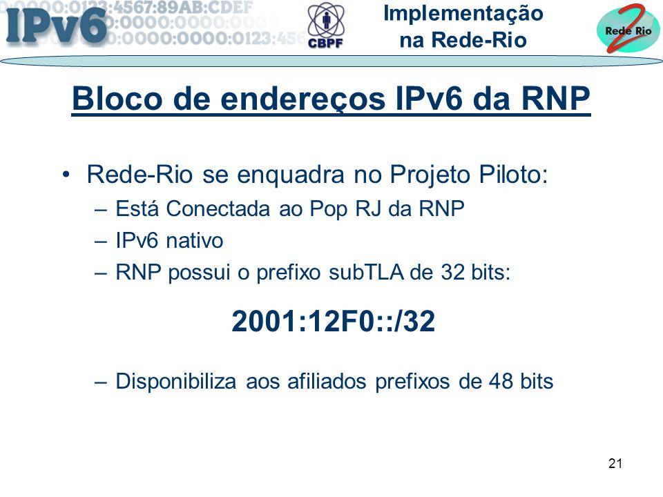 Bloco de endereços IPv6 da RNP