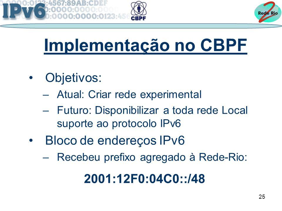 Implementação no CBPF Objetivos: Bloco de endereços IPv6