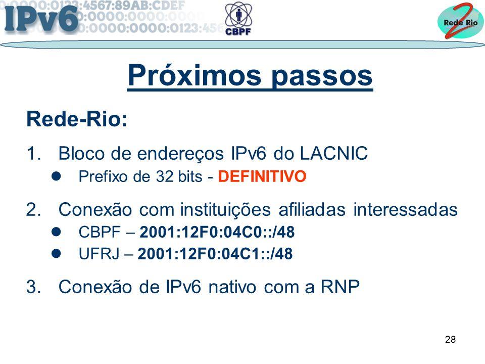 Próximos passos Rede-Rio: Bloco de endereços IPv6 do LACNIC