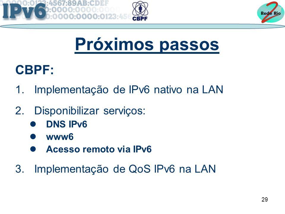 Próximos passos CBPF: Implementação de IPv6 nativo na LAN