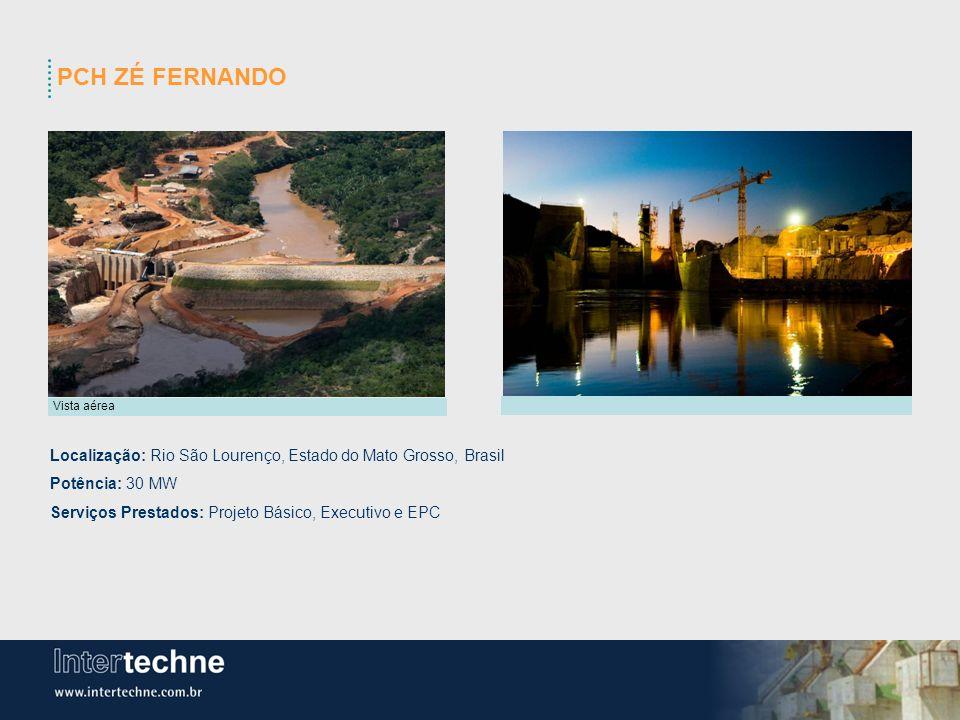 PCH ZÉ FERNANDO Vista aérea. Localização: Rio São Lourenço, Estado do Mato Grosso, Brasil. Potência: 30 MW.