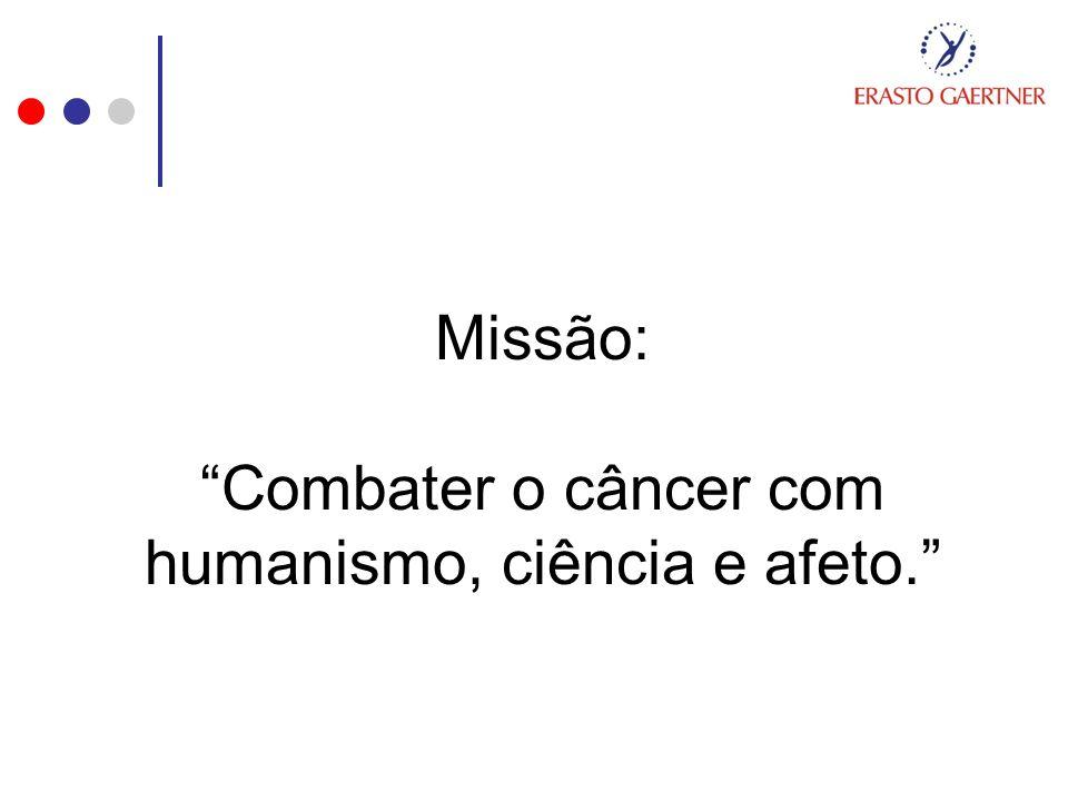 Missão: Combater o câncer com humanismo, ciência e afeto.
