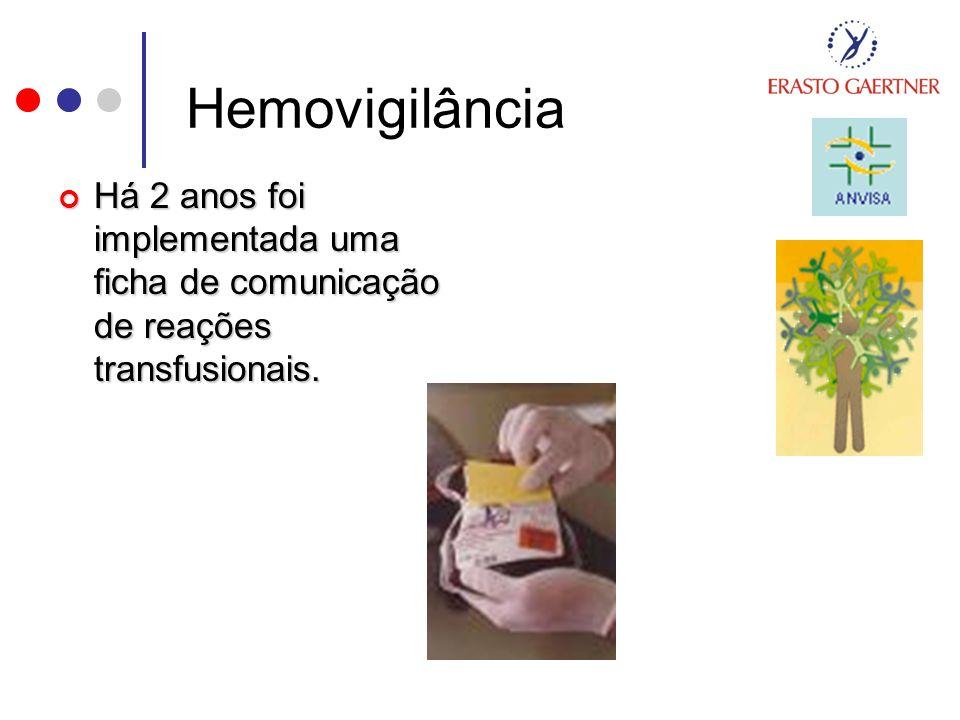 Hemovigilância Há 2 anos foi implementada uma ficha de comunicação de reações transfusionais.