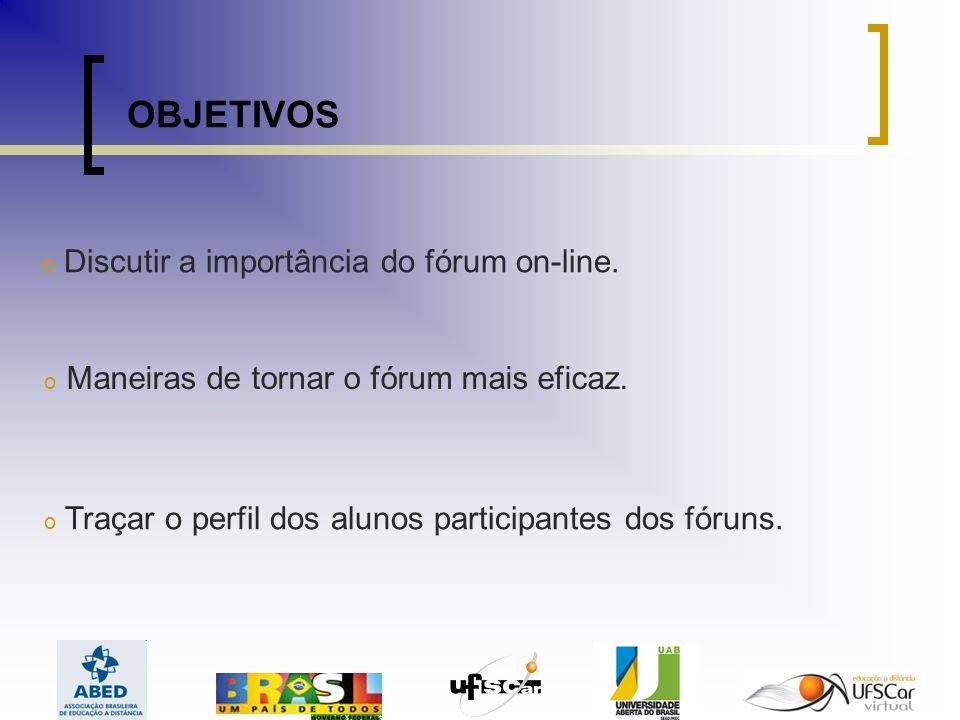 OBJETIVOS Discutir a importância do fórum on-line.