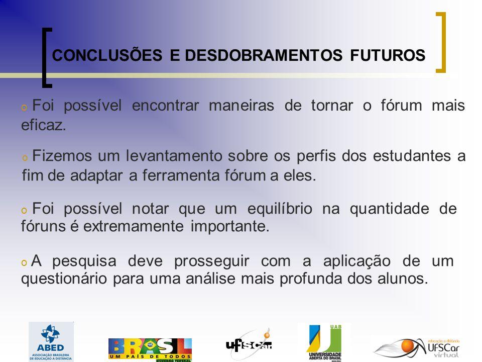 CONCLUSÕES E DESDOBRAMENTOS FUTUROS