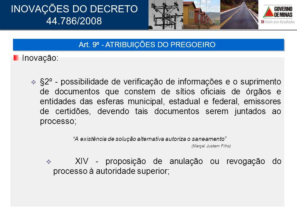 Art. 9º - ATRIBUIÇÕES DO PREGOEIRO