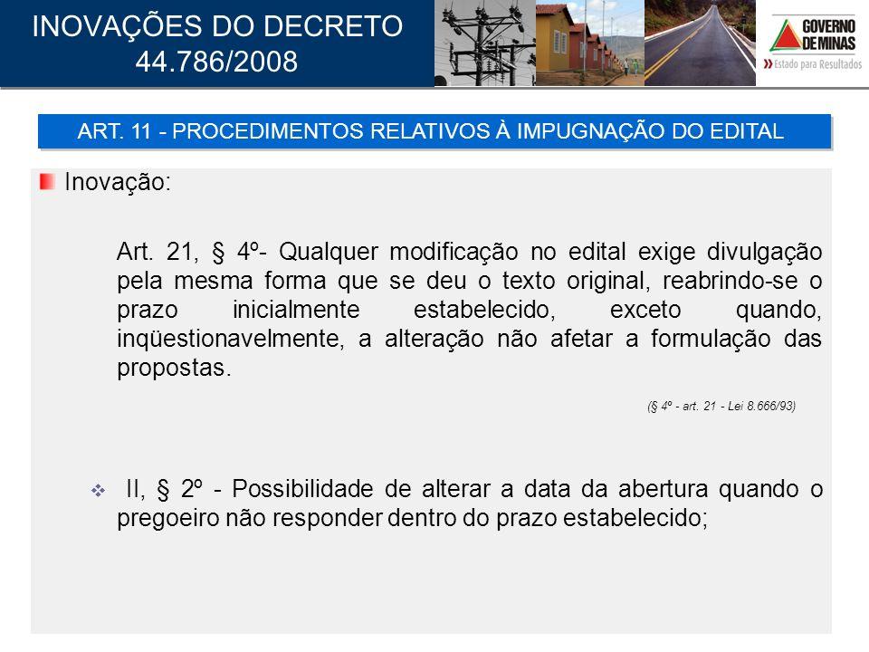 ART. 11 - PROCEDIMENTOS RELATIVOS À IMPUGNAÇÃO DO EDITAL