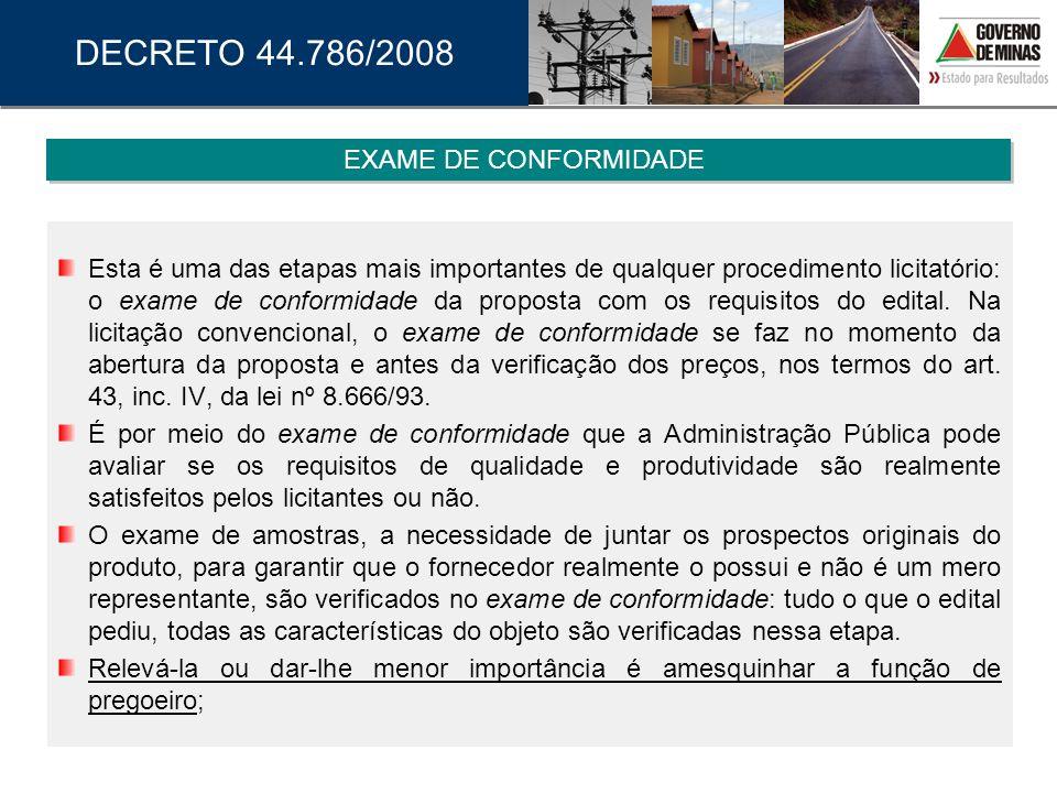 DECRETO 44.786/2008 EXAME DE CONFORMIDADE