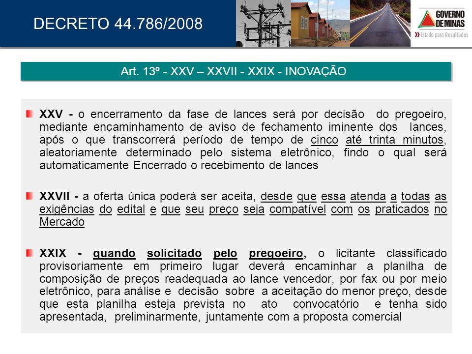 Art. 13º - XXV – XXVII - XXIX - INOVAÇÃO
