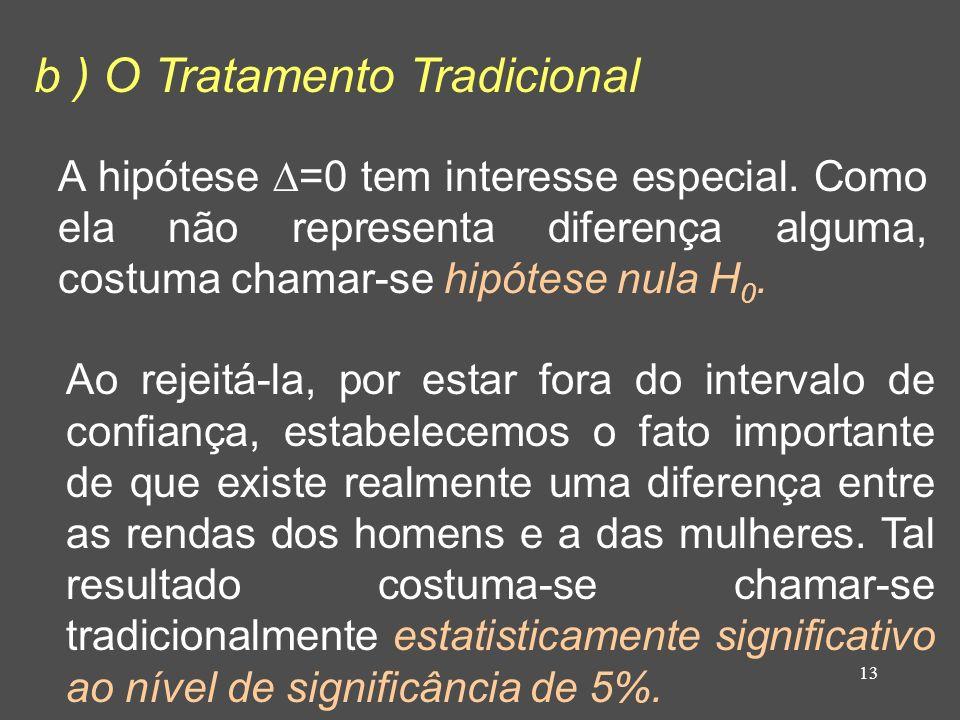 b ) O Tratamento Tradicional