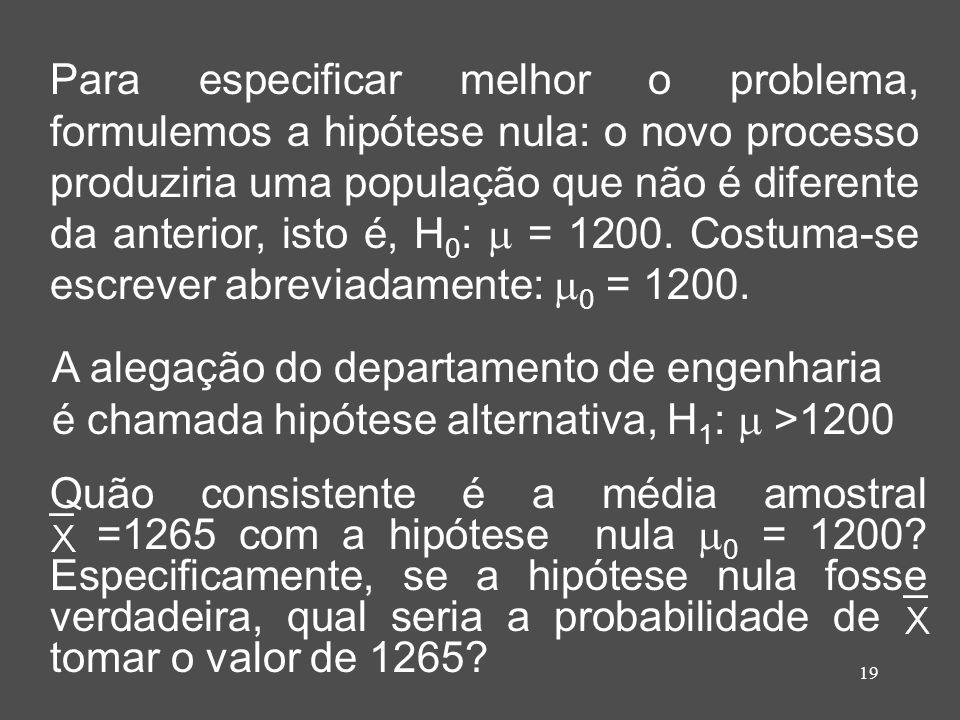 Para especificar melhor o problema, formulemos a hipótese nula: o novo processo produziria uma população que não é diferente da anterior, isto é, H0:  = 1200. Costuma-se escrever abreviadamente: 0 = 1200.