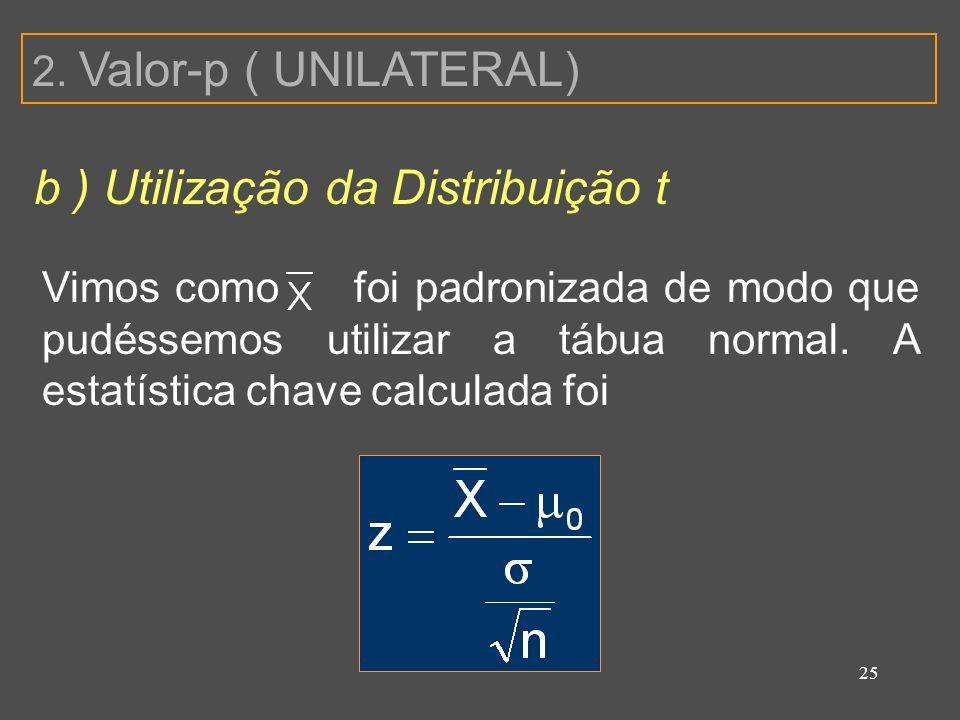 b ) Utilização da Distribuição t
