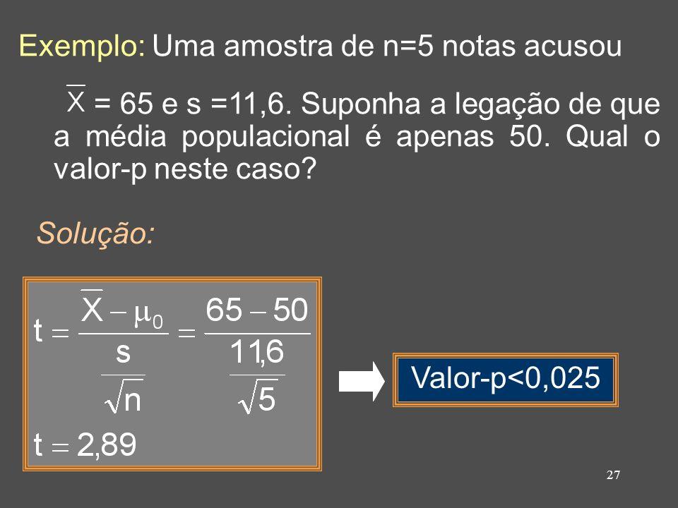 Exemplo: Uma amostra de n=5 notas acusou
