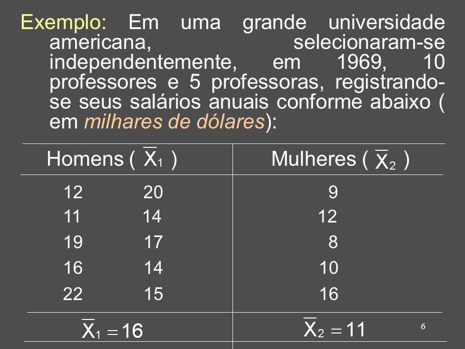 Exemplo: Em uma grande universidade americana, selecionaram-se independentemente, em 1969, 10 professores e 5 professoras, registrando-se seus salários anuais conforme abaixo ( em milhares de dólares):