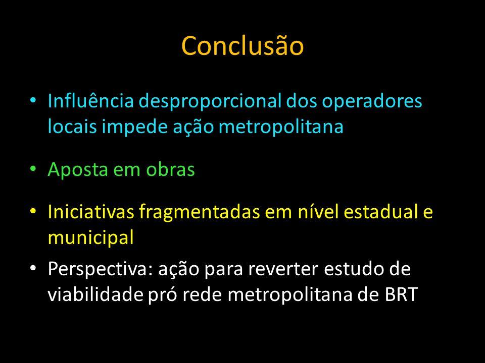 Conclusão Influência desproporcional dos operadores locais impede ação metropolitana. Aposta em obras.