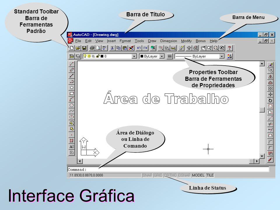 Interface Gráfica Área de Trabalho Área de Trabalho do AutoCAD