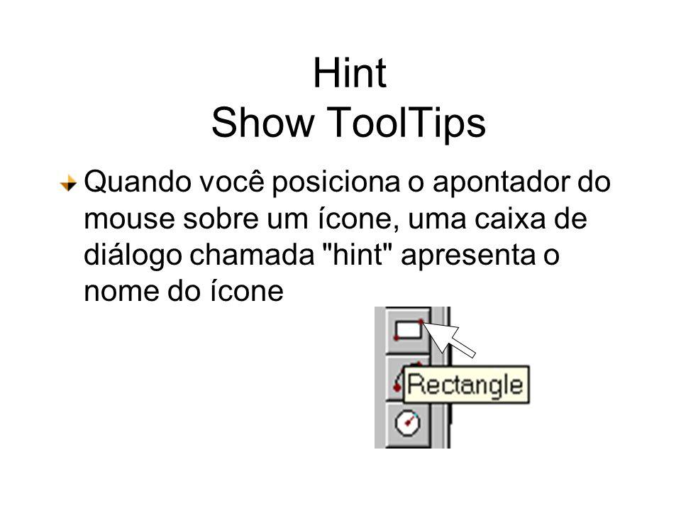 Hint Show ToolTips Quando você posiciona o apontador do mouse sobre um ícone, uma caixa de diálogo chamada hint apresenta o nome do ícone.