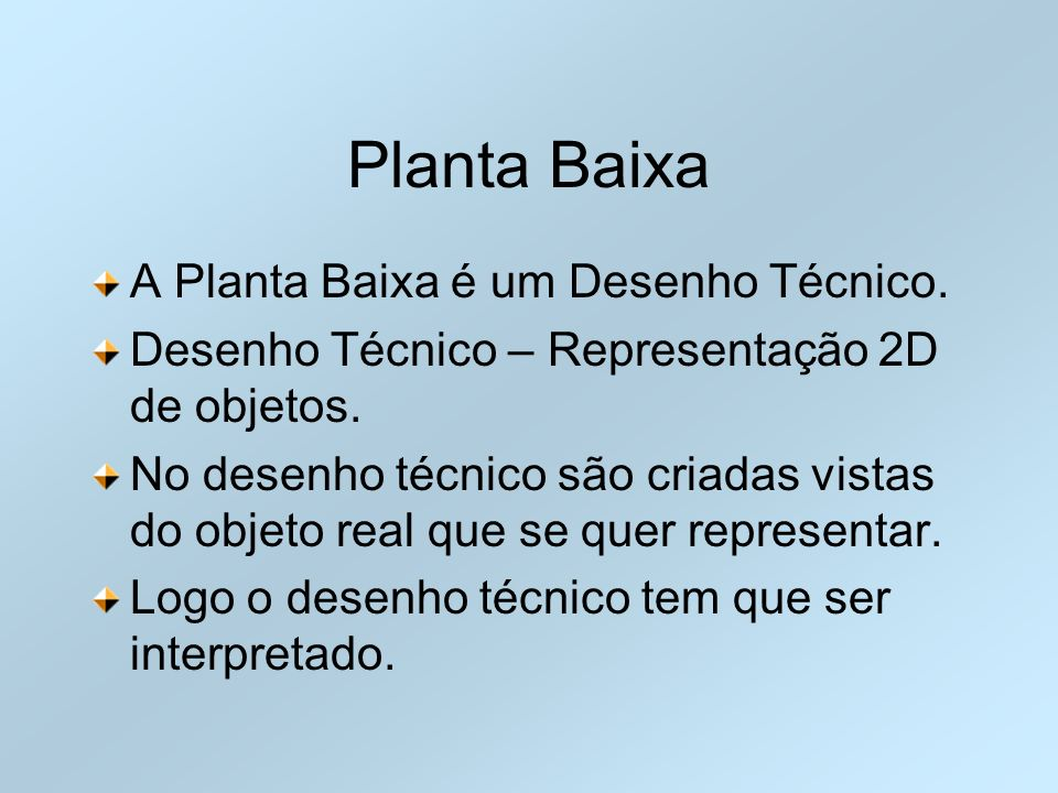 Planta Baixa A Planta Baixa é um Desenho Técnico.