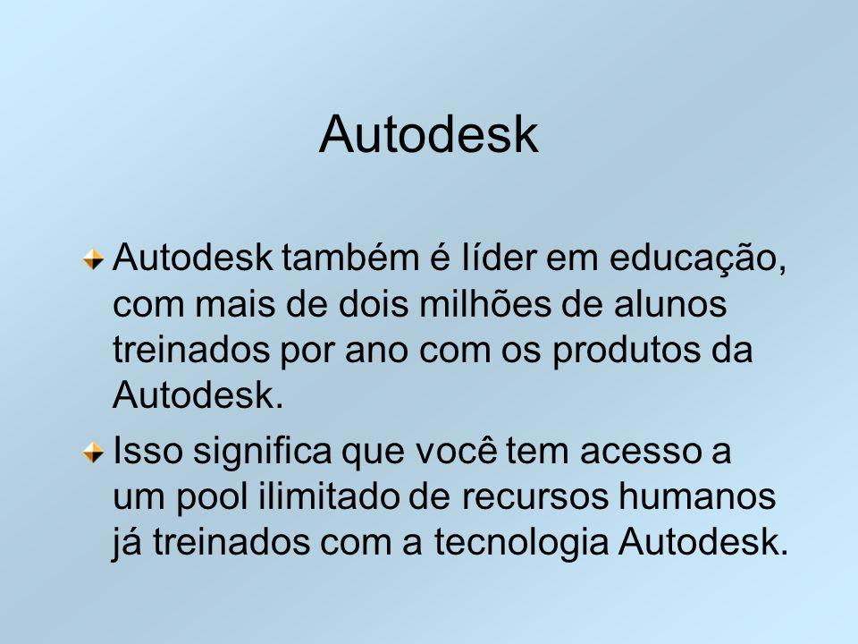 Autodesk Autodesk também é líder em educação, com mais de dois milhões de alunos treinados por ano com os produtos da Autodesk.