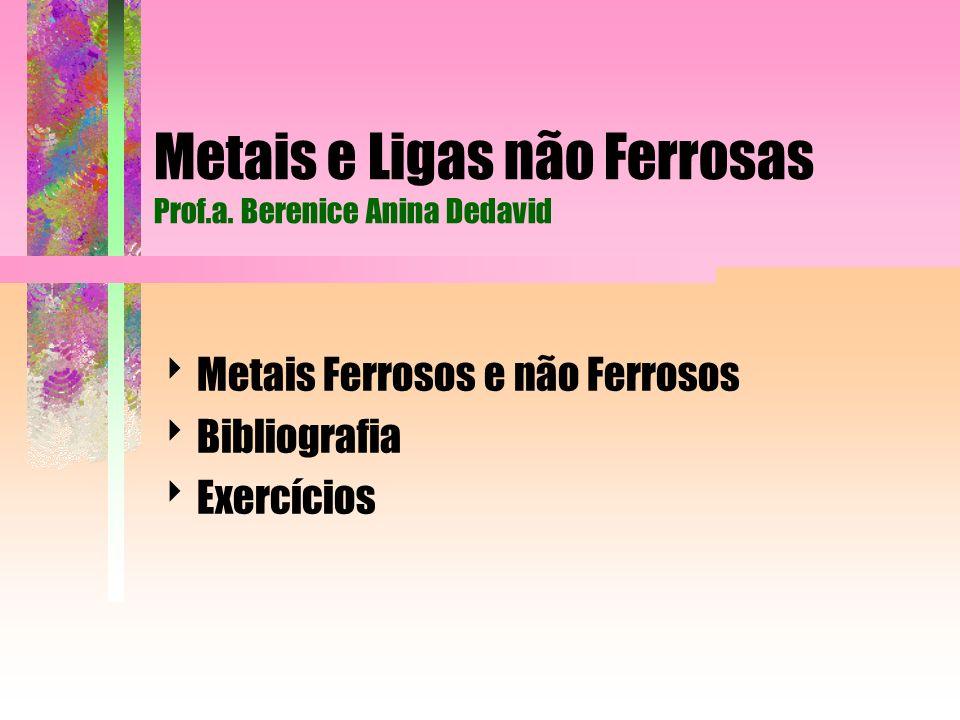 Metais e Ligas não Ferrosas Prof.a. Berenice Anina Dedavid