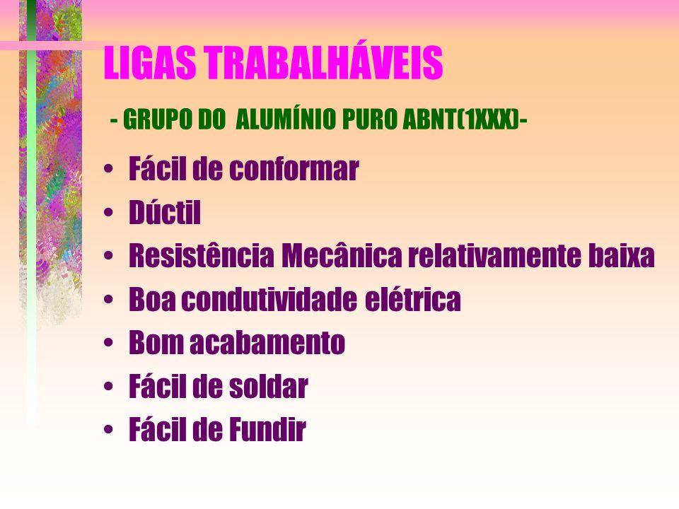 LIGAS TRABALHÁVEIS - GRUPO DO ALUMÍNIO PURO ABNT(1XXX)-