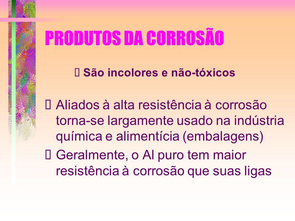 PRODUTOS DA CORROSÃO Ø São incolores e não-tóxicos.
