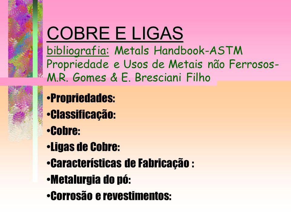 COBRE E LIGAS bibliografia: Metals Handbook-ASTM Propriedade e Usos de Metais não Ferrosos- M.R. Gomes & E. Bresciani Filho