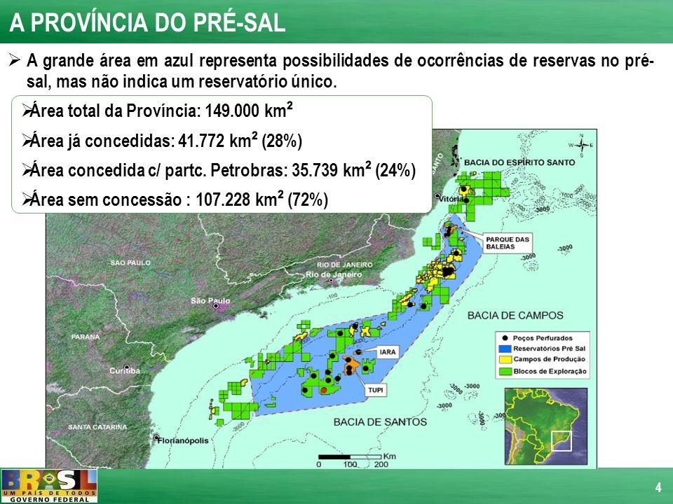 A PROVÍNCIA DO PRÉ-SAL A grande área em azul representa possibilidades de ocorrências de reservas no pré-sal, mas não indica um reservatório único.