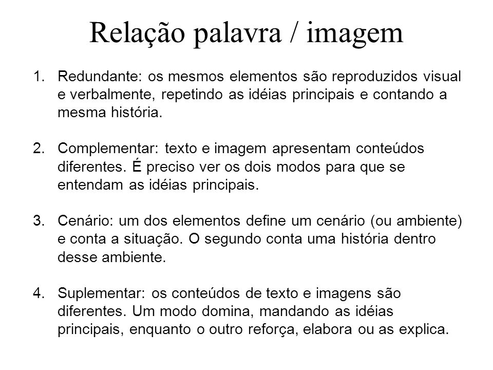Relação palavra / imagem