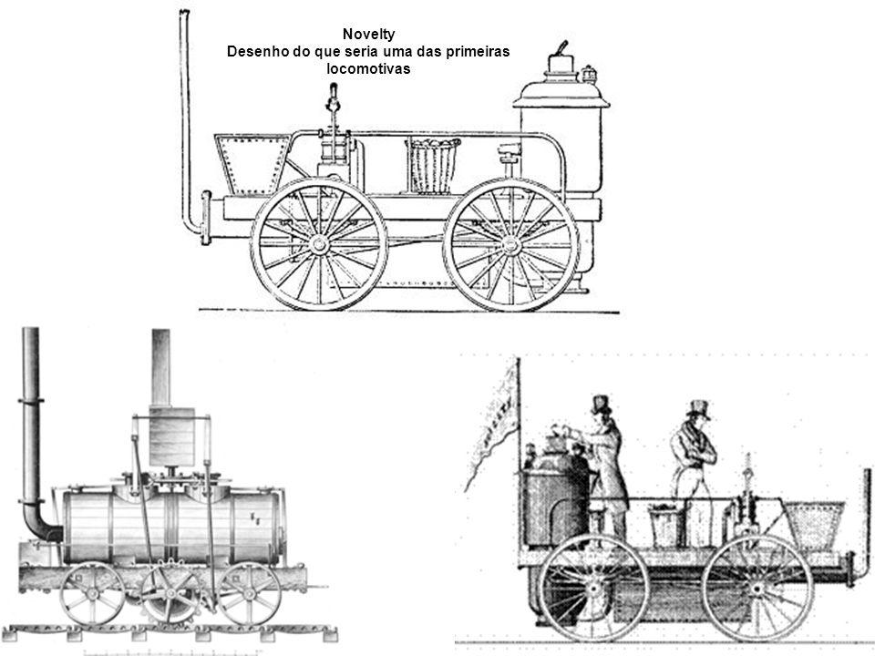 Desenho do que seria uma das primeiras locomotivas