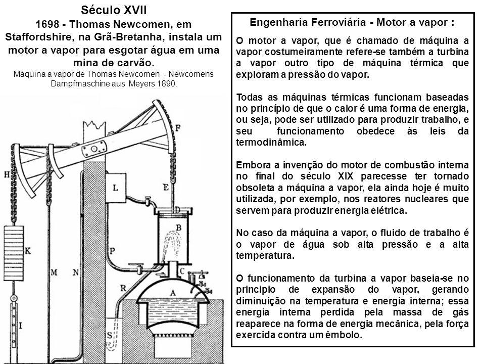 Engenharia Ferroviária - Motor a vapor :