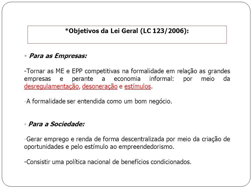 *Objetivos da Lei Geral (LC 123/2006):