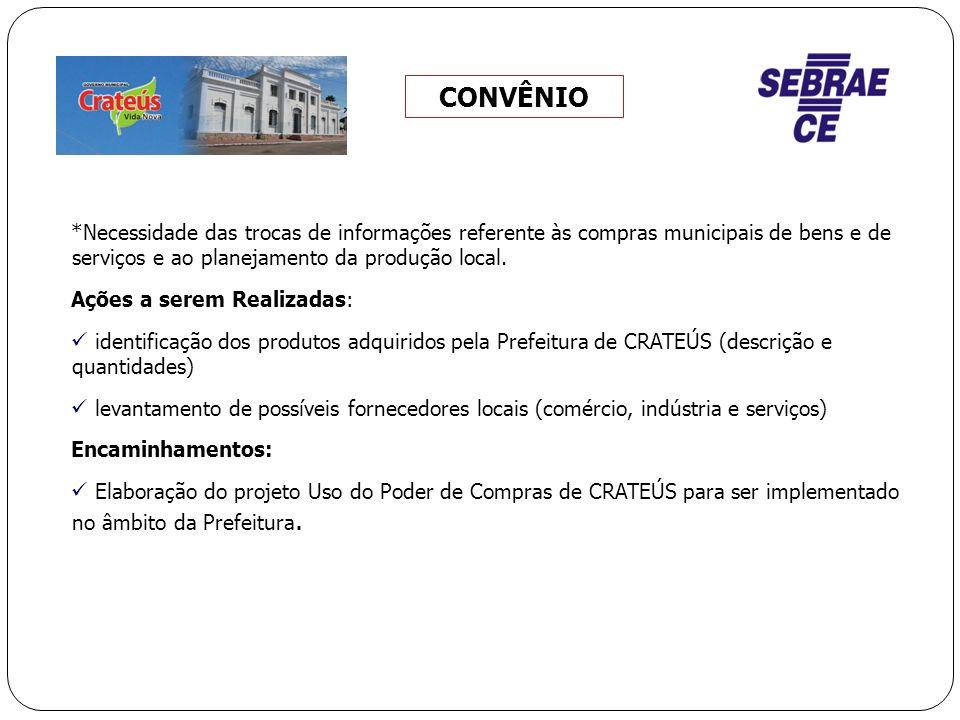 CONVÊNIO *Necessidade das trocas de informações referente às compras municipais de bens e de serviços e ao planejamento da produção local.