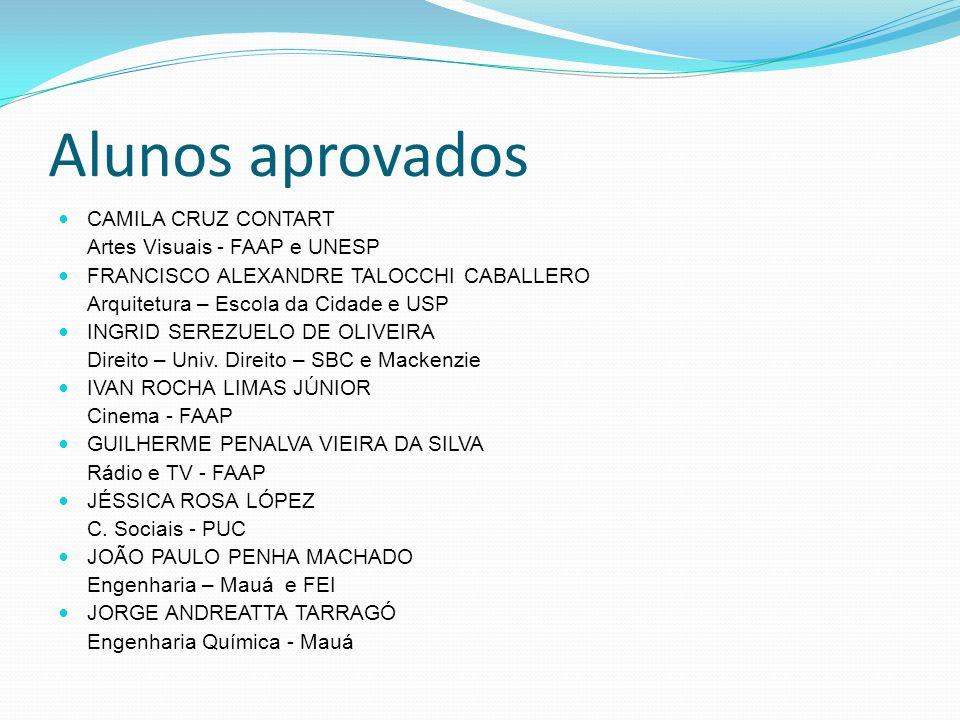 Alunos aprovados CAMILA CRUZ CONTART Artes Visuais - FAAP e UNESP