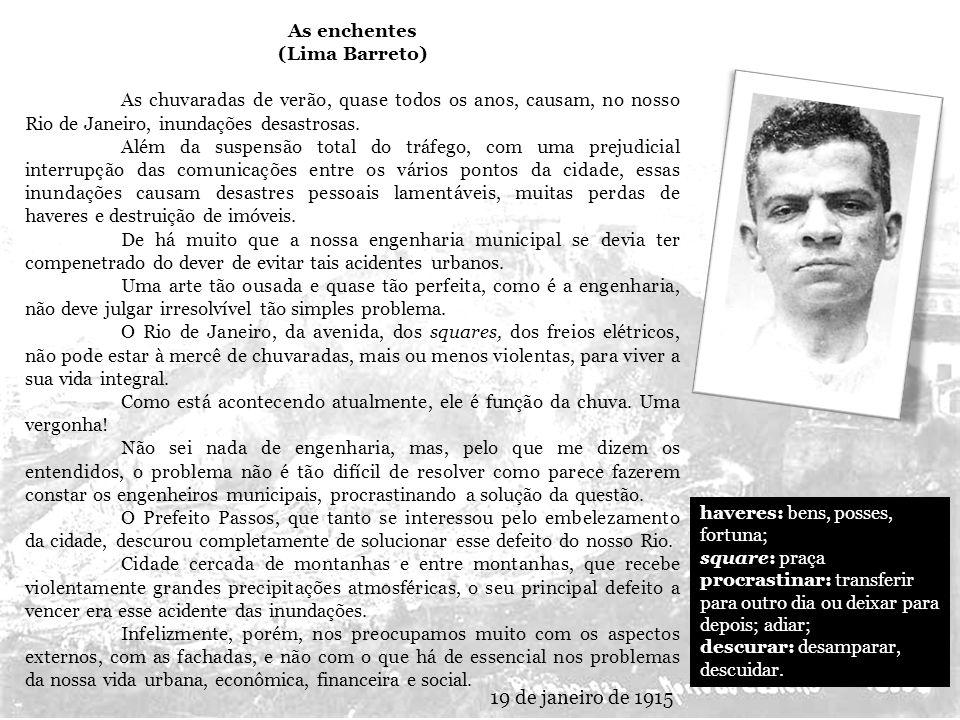 19 de janeiro de 1915 As enchentes (Lima Barreto)