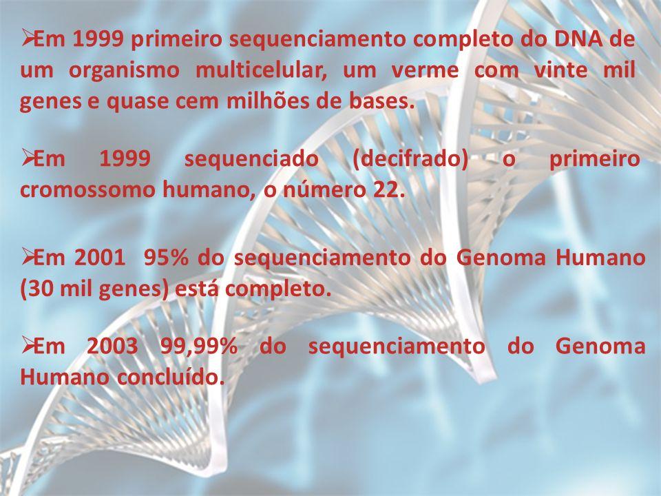 Em 1999 primeiro sequenciamento completo do DNA de um organismo multicelular, um verme com vinte mil genes e quase cem milhões de bases.