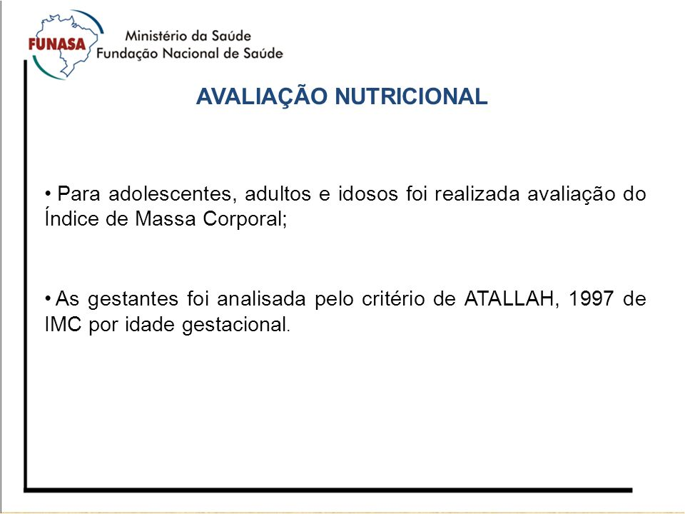 AVALIAÇÃO NUTRICIONAL