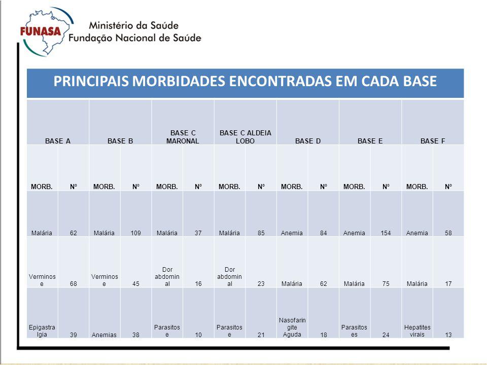 PRINCIPAIS MORBIDADES ENCONTRADAS EM CADA BASE