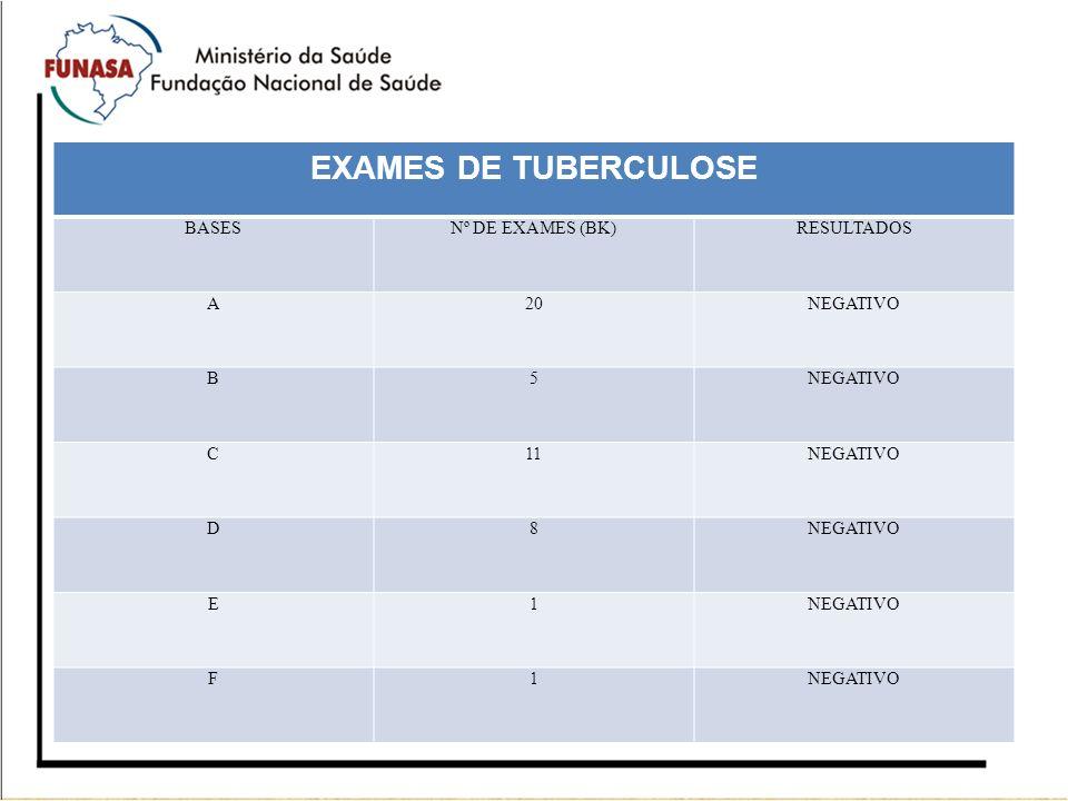 EXAMES DE TUBERCULOSE BASES Nº DE EXAMES (BK) RESULTADOS A 20 NEGATIVO