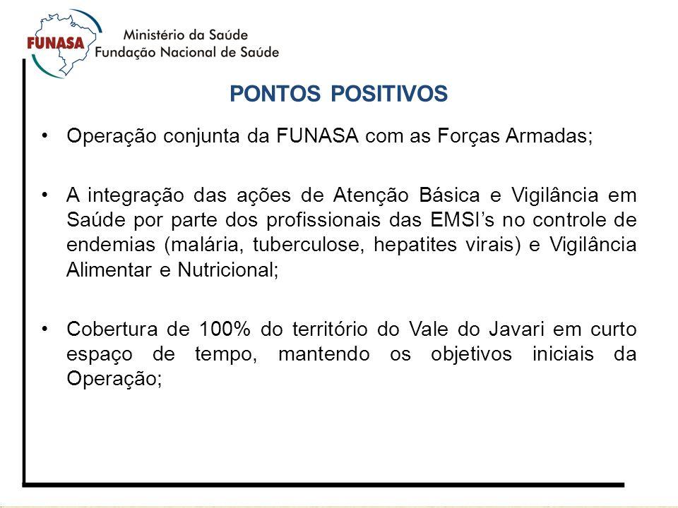 PONTOS POSITIVOS Operação conjunta da FUNASA com as Forças Armadas;