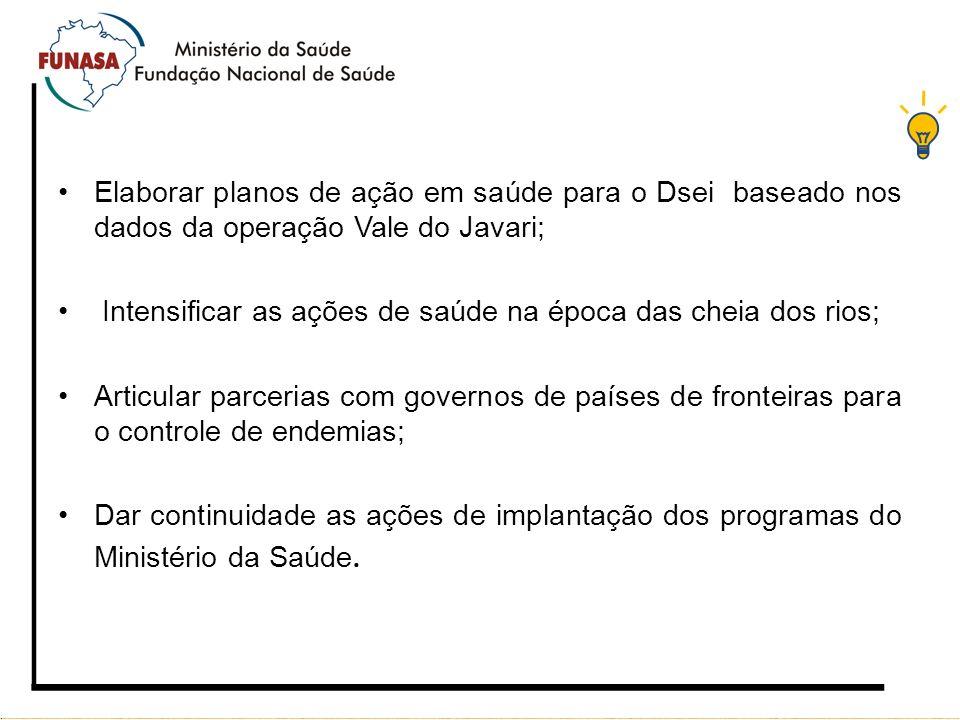 Elaborar planos de ação em saúde para o Dsei baseado nos dados da operação Vale do Javari;