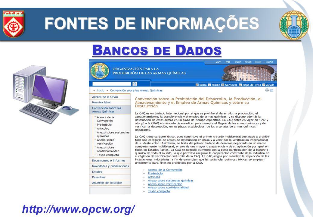 FONTES DE INFORMAÇÕES Bancos de Dados http://www.opcw.org/