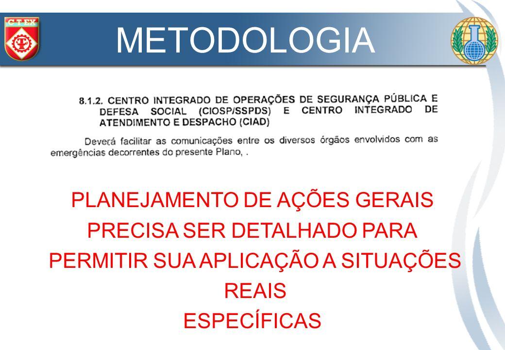 METODOLOGIA PLANEJAMENTO DE AÇÕES GERAIS PRECISA SER DETALHADO PARA
