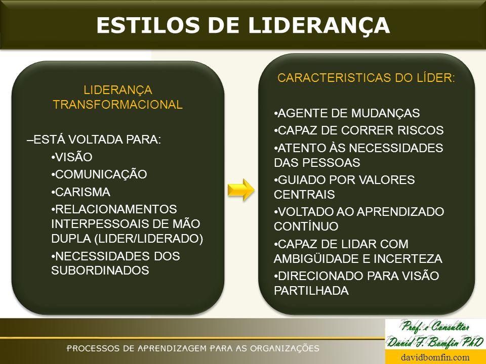 ESTILOS DE LIDERANÇA CARACTERISTICAS DO LÍDER: