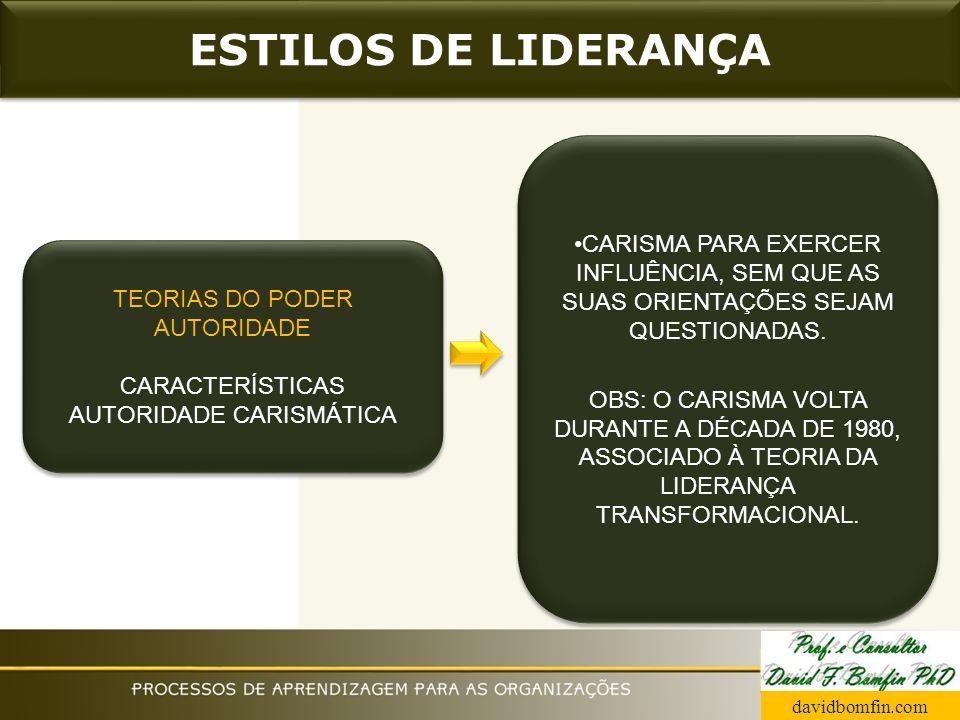 ESTILOS DE LIDERANÇA CARISMA PARA EXERCER INFLUÊNCIA, SEM QUE AS SUAS ORIENTAÇÕES SEJAM QUESTIONADAS.