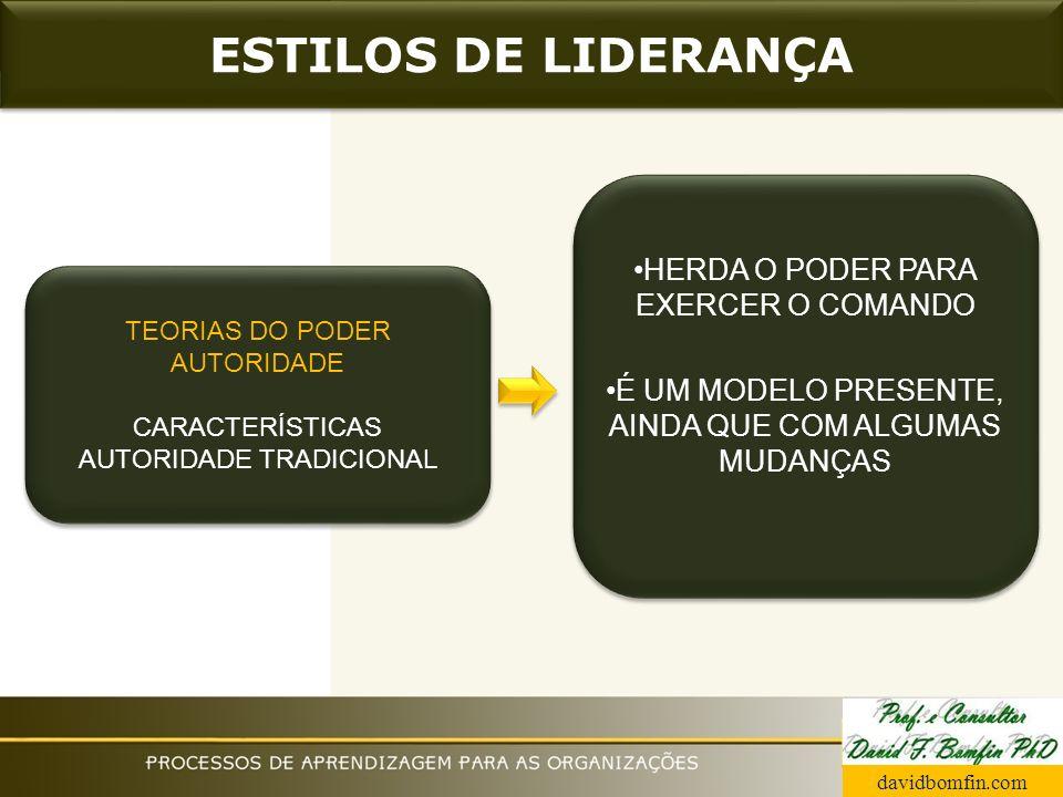 ESTILOS DE LIDERANÇA HERDA O PODER PARA EXERCER O COMANDO