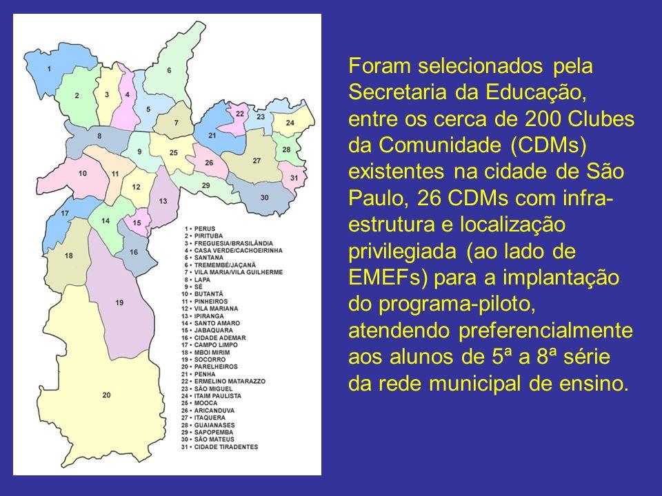 Foram selecionados pela Secretaria da Educação, entre os cerca de 200 Clubes da Comunidade (CDMs) existentes na cidade de São Paulo, 26 CDMs com infra-estrutura e localização privilegiada (ao lado de EMEFs) para a implantação do programa-piloto, atendendo preferencialmente aos alunos de 5ª a 8ª série da rede municipal de ensino.